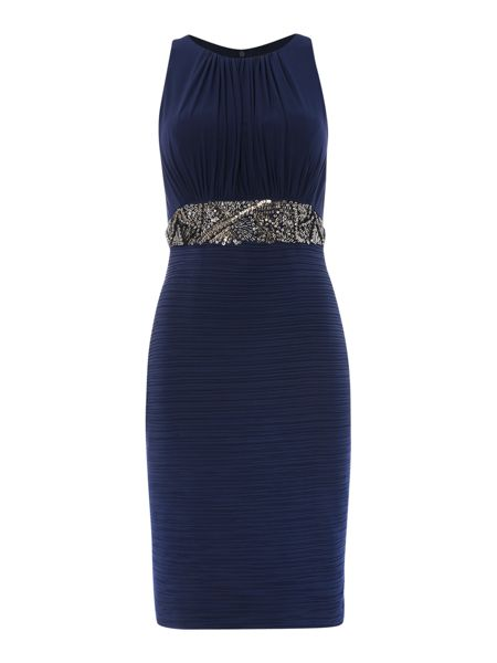 JS Collections Beaded waist dress with pleated skirt