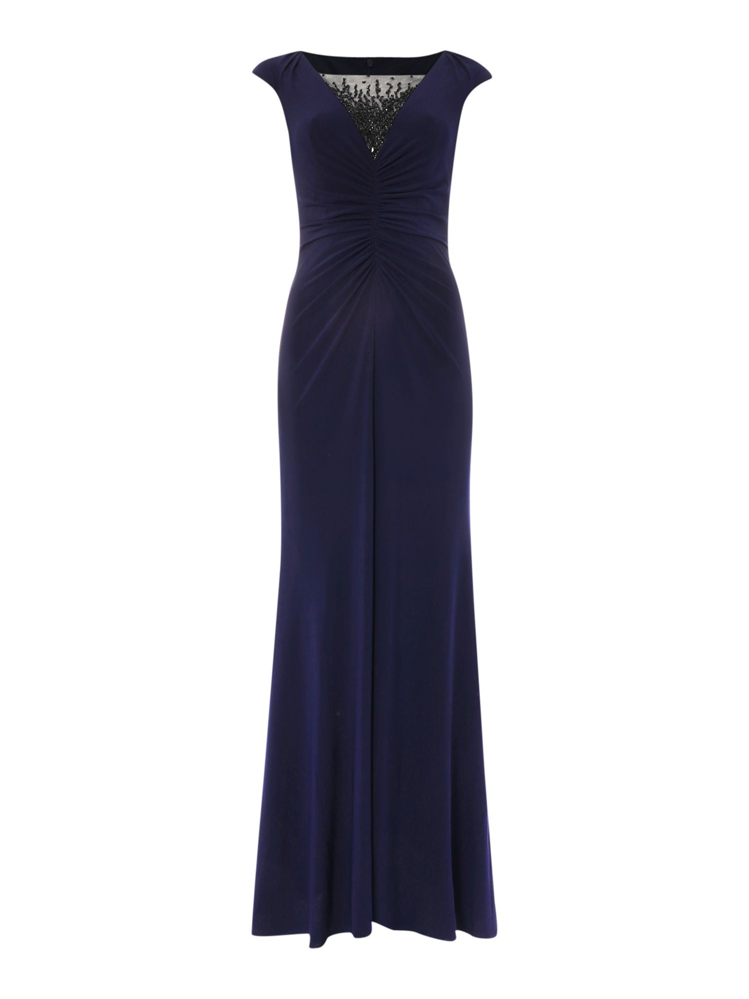 JS Collections Sheer beaded V neck gown with middle rouching, Blue