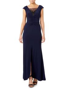JS Collections Sheer beaded V neck gown with middle rouching