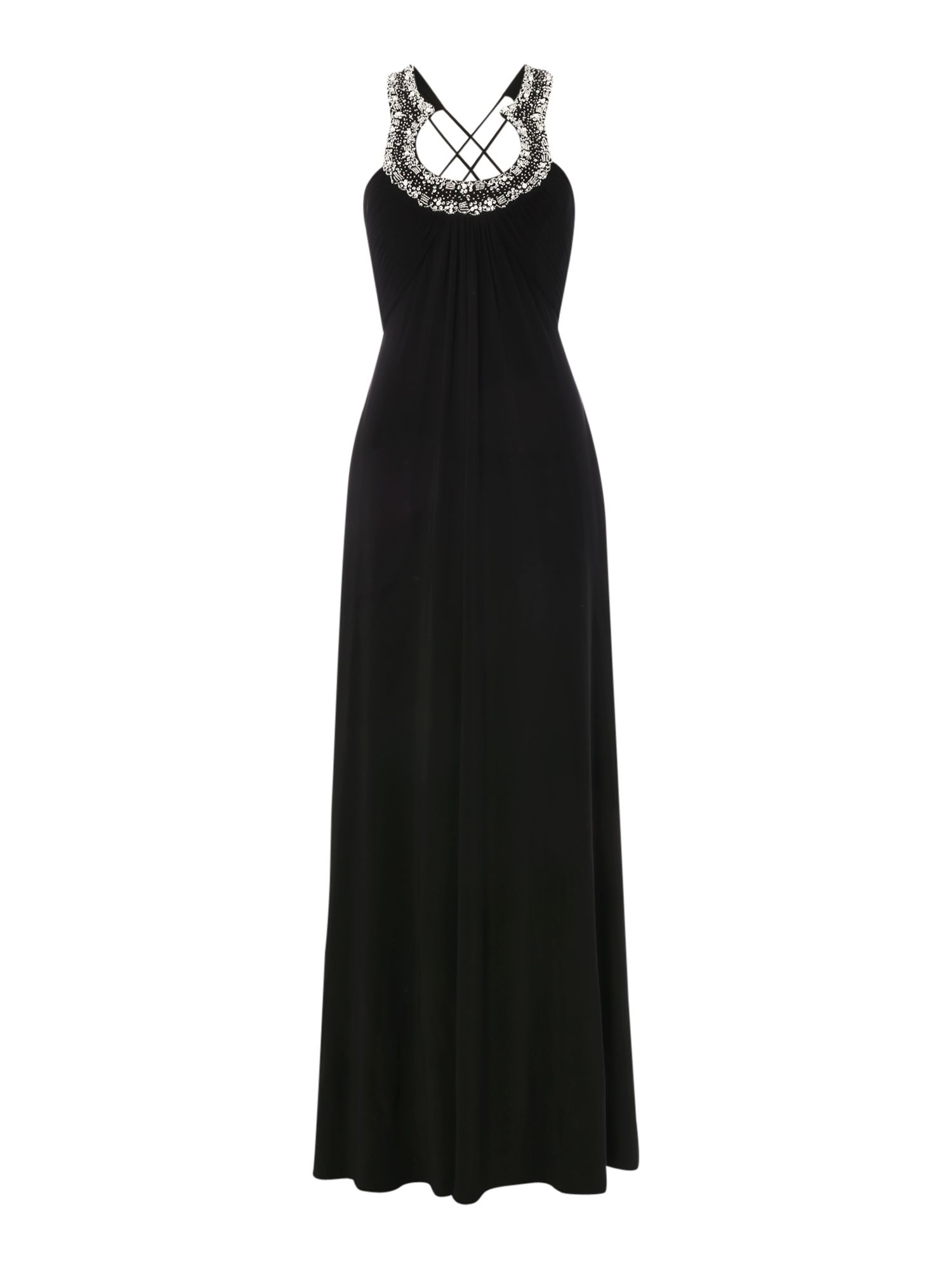 JS Collections Jersey gown with horseshoe neckline, Black