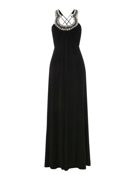 JS Collections Jersey gown with horseshoe neckline