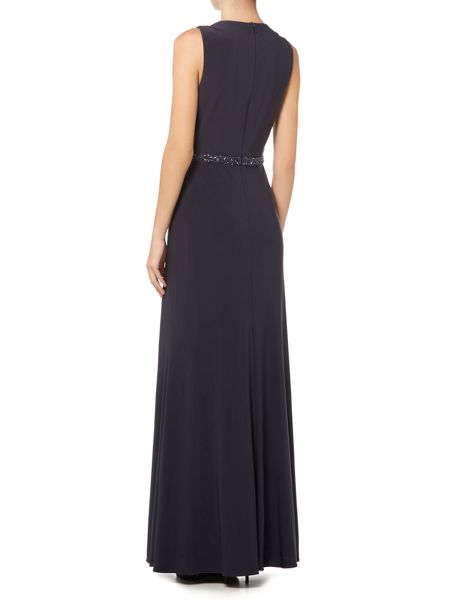 JS Collections Asymetric draped waist gown