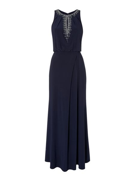 JS Collections Blouson gown with keyhole neckline