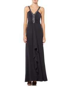 Blouson gown with keyhole neckline
