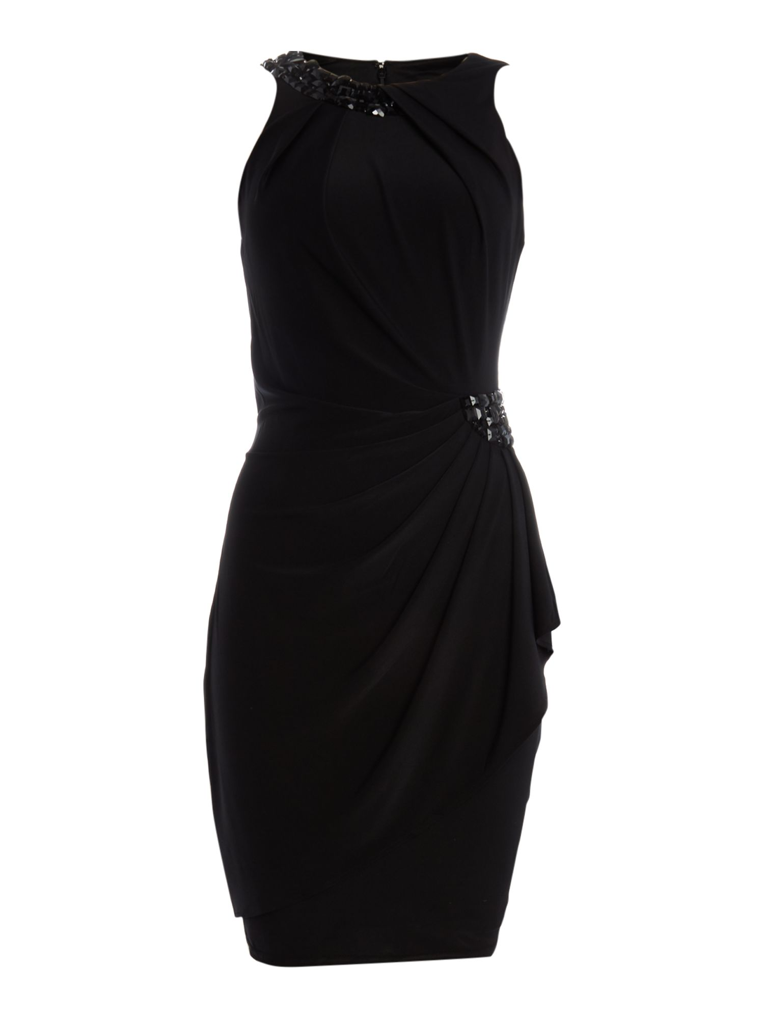 JS Collections Jersey dress with beaded halter neck, Black