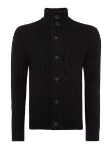Regular Fit Ribbed Button Up Cardigan