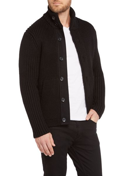 Michael Kors Regular Fit Ribbed Button Up Cardigan