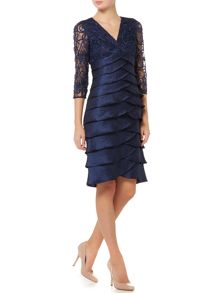 Shutter dress with cornelli lace top