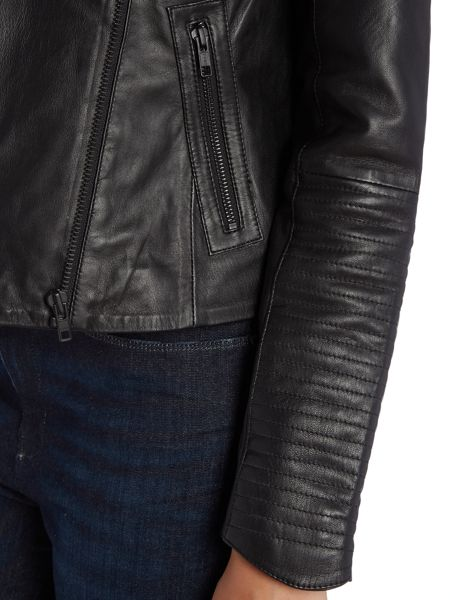 Y.A.S. Leather jacket with sleeve detail