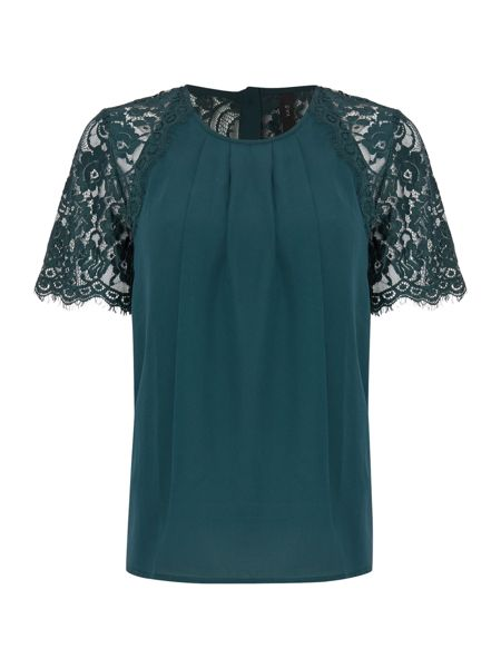 Y.A.S. Short sleeve lace detail top