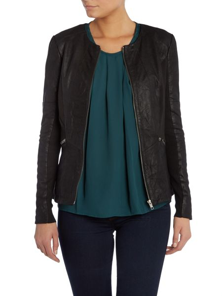 Y.A.S. Collarless leather jacket