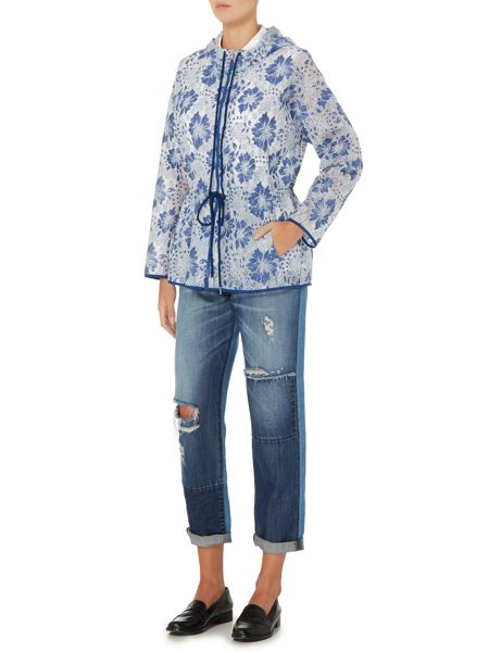 Sportmax Code Candia floral lace short hooded raincoat