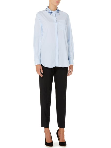 Sportmax Code Pesco pin stripe long sleeve shirt with lace back