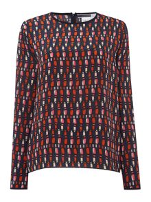 Sportmax Code Effige long sleeve lipstick print silk top