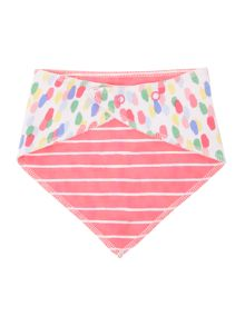 Girls Reversible Jellybean and stripe print bib