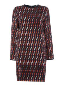 Sportmax Code Ocra long sleeve lipstick print silk dress