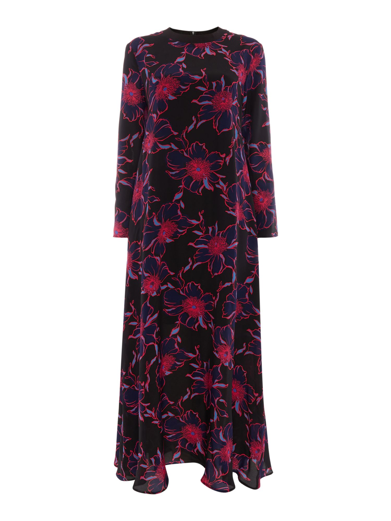 Sportmax Code Amour maxi long sleeve contrast floral dress, Blue