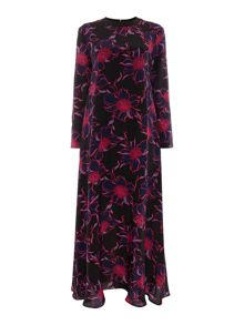 Sportmax Code Amour maxi long sleeve contrast floral dress