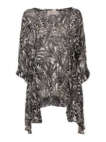 Label Lab Feather print hanki hem blouse