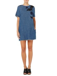Albino denim shift dress with embroidered detail