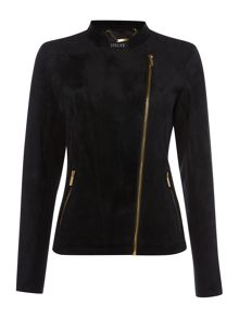 Suede biker jacket with gold zips
