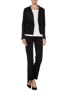 Episode Suede biker jacket with gold zips