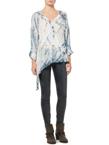 Label Lab Tie dye asymmetric long tail blouse