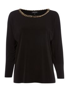 Relaxed jersey top with chain detail