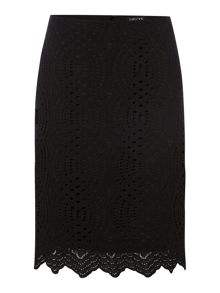 Textured lace pencil skirt