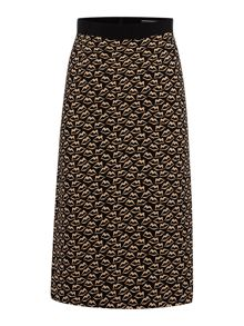 Sportmax Code Vortice lips print pencil skirt