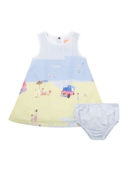 Joules Girls Beach border dress with pants set