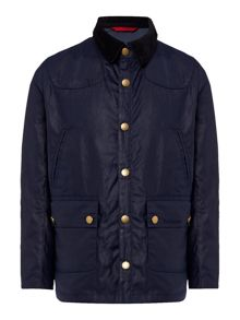 Boys waxed jacket with cord collar