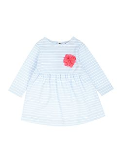 Joules Girls Stripe jersey dress with corsage