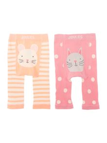 Girls Cat and Mouse 2 pack leggings