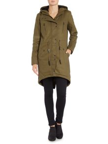 Long hooded parka jacket