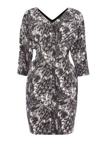 Y.A.S. 3/4 sleeve printed v-neck dress