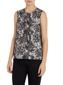 Y.A.S. Sleeveless crew neck printed top
