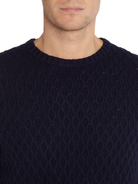 Farah Heany crew neck cable knit jumper