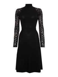 Vince Camuto Lace insert knitted dress
