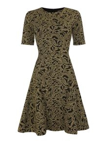 Vince Camuto Gold jacquard jersey dress
