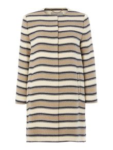 Marella Carbone long line striped jacket with sleeves
