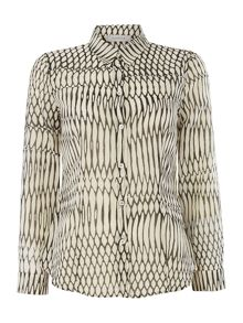 Marella Guana printed button up collared silk shirt