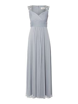 Beaded strap dress with front bodice rouching