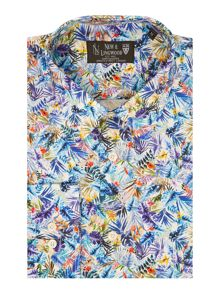 New & Lingwood Chesham Multi Leaf Jungle Print Shirt