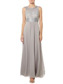 Halter style gown with embroidered neckline