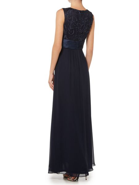 Eliza J Halter style gown with embroidered neckline