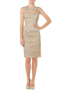 Eliza J Beaded strap dress with front bodice rouching