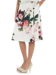 Vince Camuto Rose print satin skirt