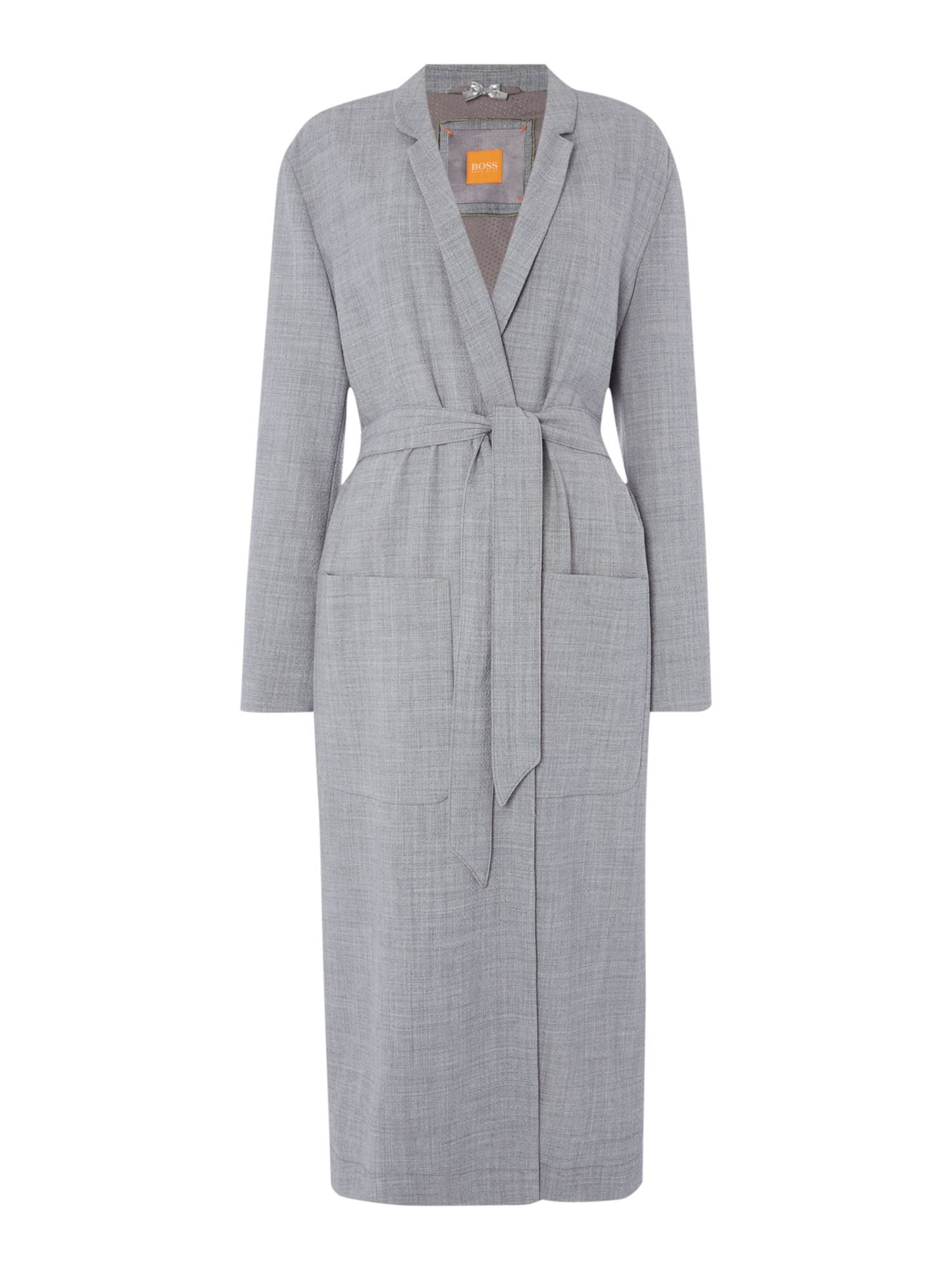 Hugo Boss Long belted coat with lapel, Mid Grey
