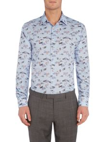 New & Lingwood Pentworth Areoplane Print Shirt